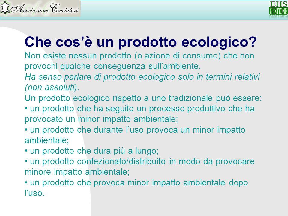 Che cosè un prodotto ecologico? Non esiste nessun prodotto (o azione di consumo) che non provochi qualche conseguenza sullambiente. Ha senso parlare d