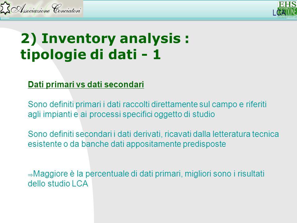 LCA 2) Inventory analysis : tipologie di dati - 1 Dati primari vs dati secondari Sono definiti primari i dati raccolti direttamente sul campo e riferi