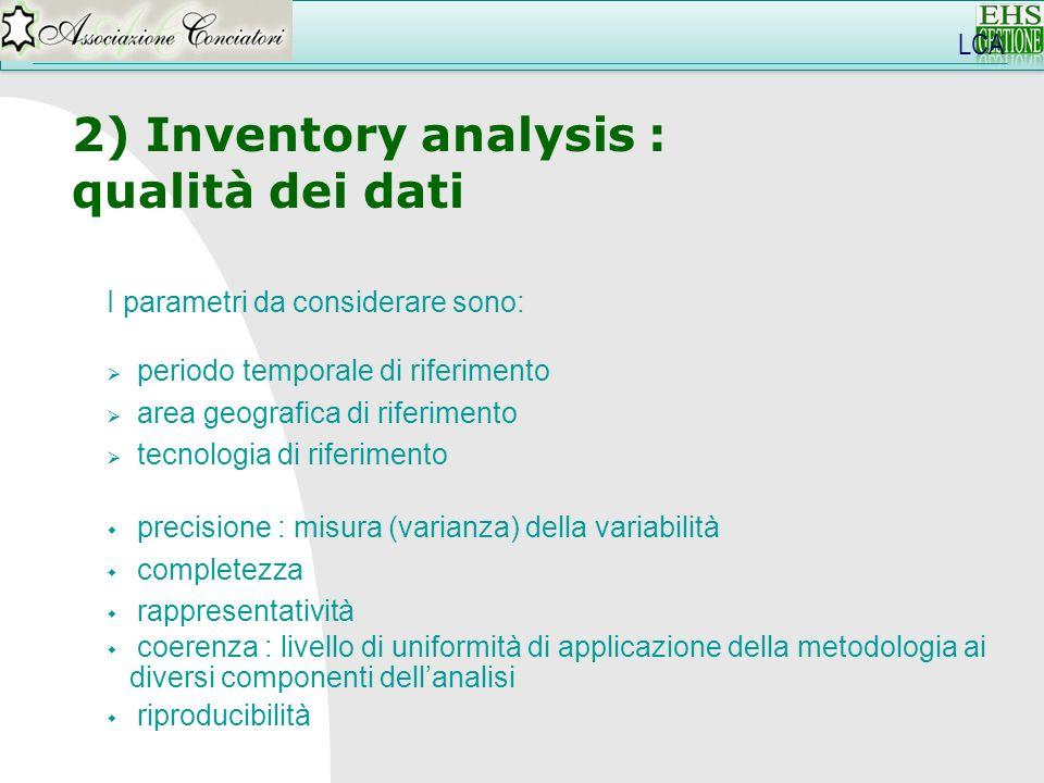 LCA 2) Inventory analysis : qualità dei dati I parametri da considerare sono: periodo temporale di riferimento area geografica di riferimento tecnolog