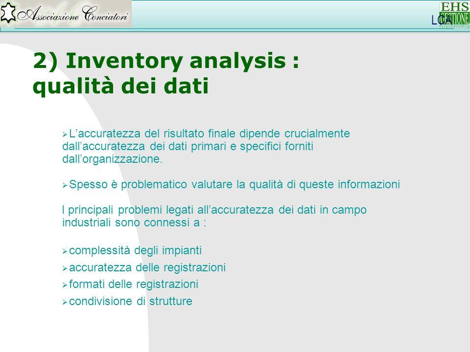 LCA 2) Inventory analysis : qualità dei dati Laccuratezza del risultato finale dipende crucialmente dallaccuratezza dei dati primari e specifici forni