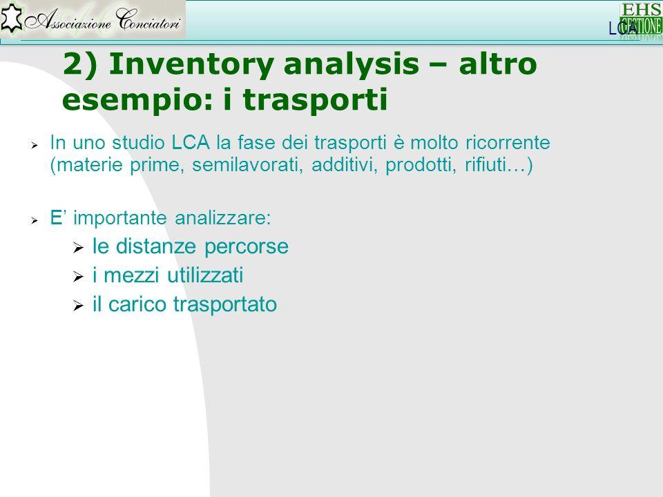 In uno studio LCA la fase dei trasporti è molto ricorrente (materie prime, semilavorati, additivi, prodotti, rifiuti…) E importante analizzare: le dis