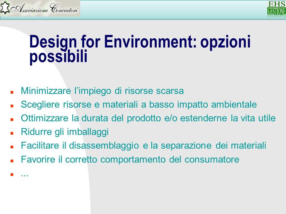 Design for Environment: opzioni possibili n Minimizzare limpiego di risorse scarsa n Scegliere risorse e materiali a basso impatto ambientale n Ottimi