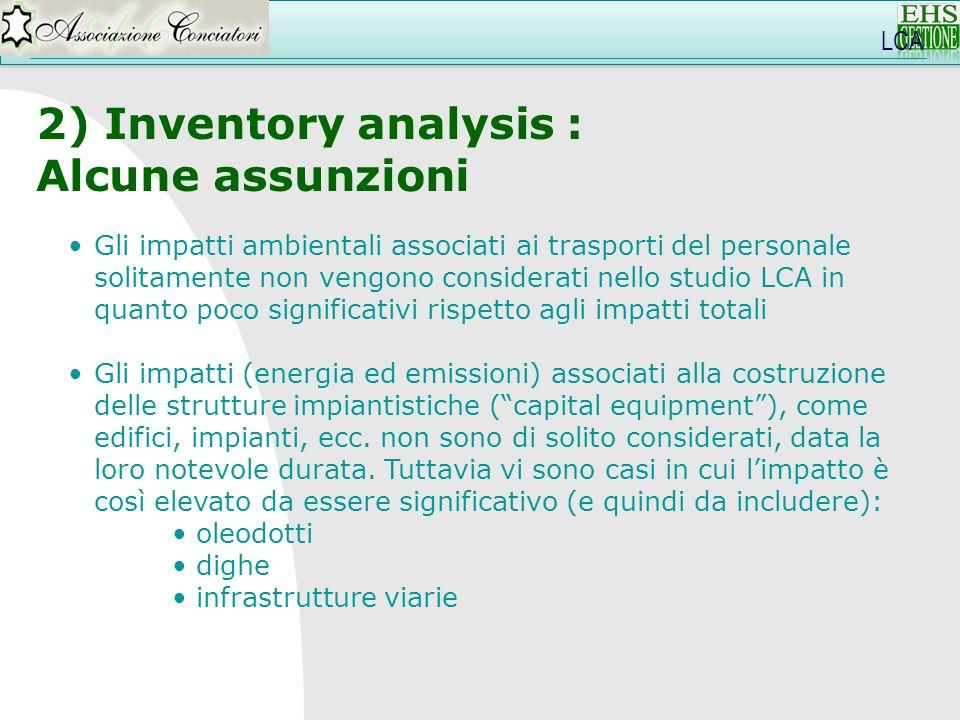 2) Inventory analysis : Alcune assunzioni Gli impatti ambientali associati ai trasporti del personale solitamente non vengono considerati nello studio