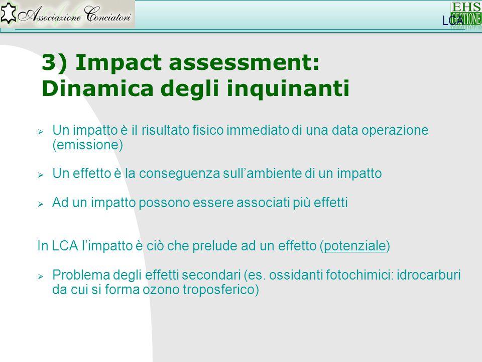 LCA 3) Impact assessment: Dinamica degli inquinanti Un impatto è il risultato fisico immediato di una data operazione (emissione) Un effetto è la cons
