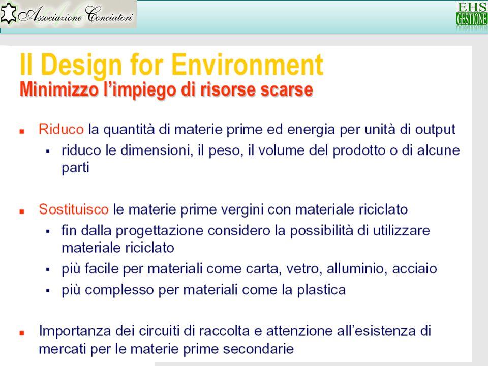 LCA Le fasi della LCA : 4) Interpretation Non esiste un codice di riferimento con cui effettuare questa fase Importante : esperienza del progettista competenze di chi conduce lanalisi LCA