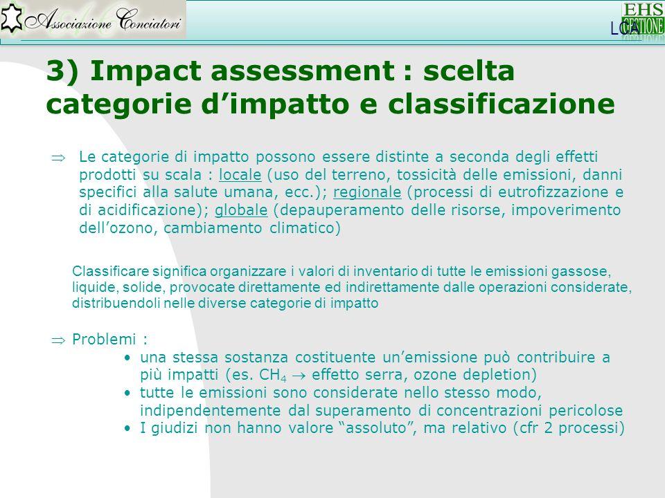 LCA 3) Impact assessment : scelta categorie dimpatto e classificazione Classificare significa organizzare i valori di inventario di tutte le emissioni