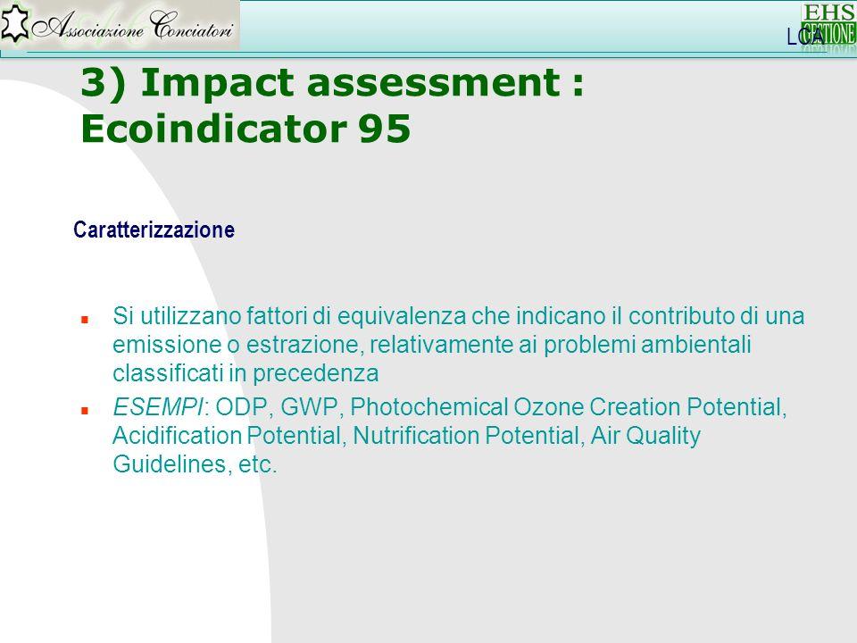3) Impact assessment : Ecoindicator 95 LCA Caratterizzazione n Si utilizzano fattori di equivalenza che indicano il contributo di una emissione o estr