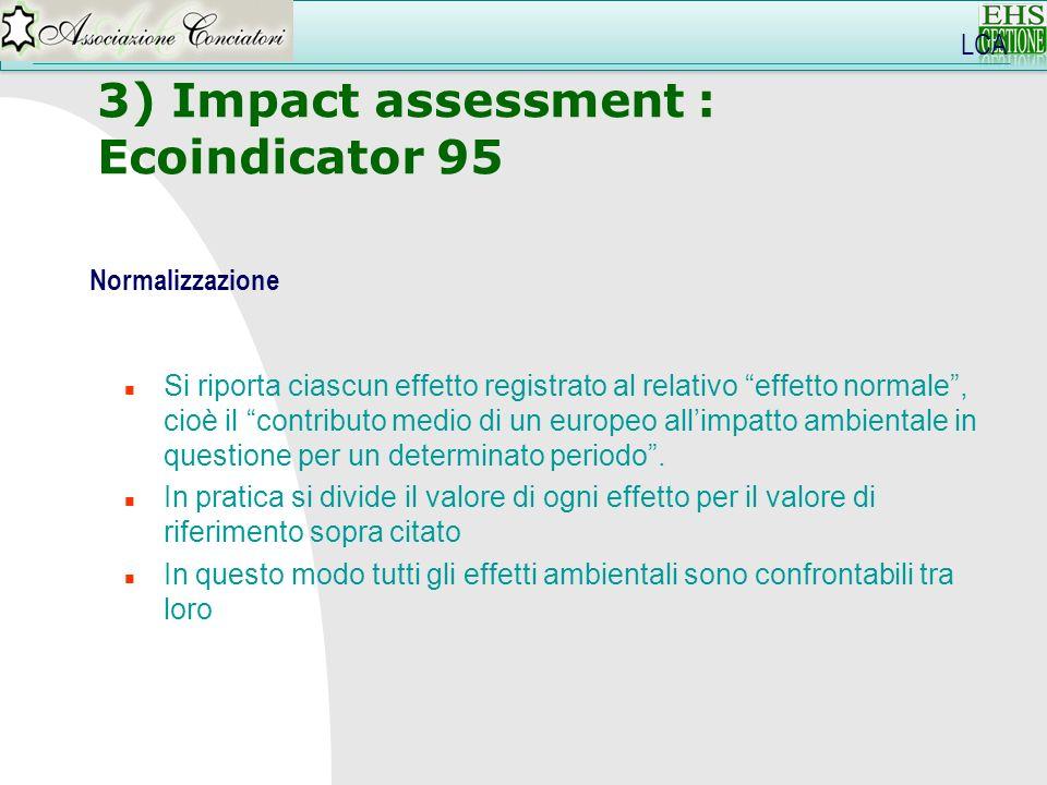 3) Impact assessment : Ecoindicator 95 LCA Normalizzazione n Si riporta ciascun effetto registrato al relativo effetto normale, cioè il contributo med