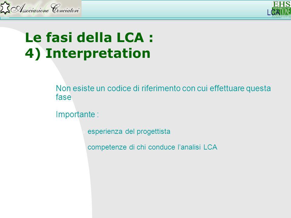 LCA Le fasi della LCA : 4) Interpretation Non esiste un codice di riferimento con cui effettuare questa fase Importante : esperienza del progettista c