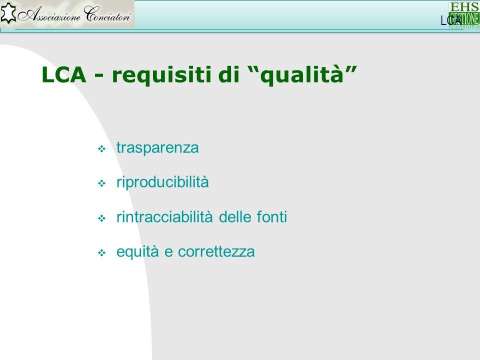 LCA LCA - requisiti di qualità trasparenza riproducibilità rintracciabilità delle fonti equità e correttezza