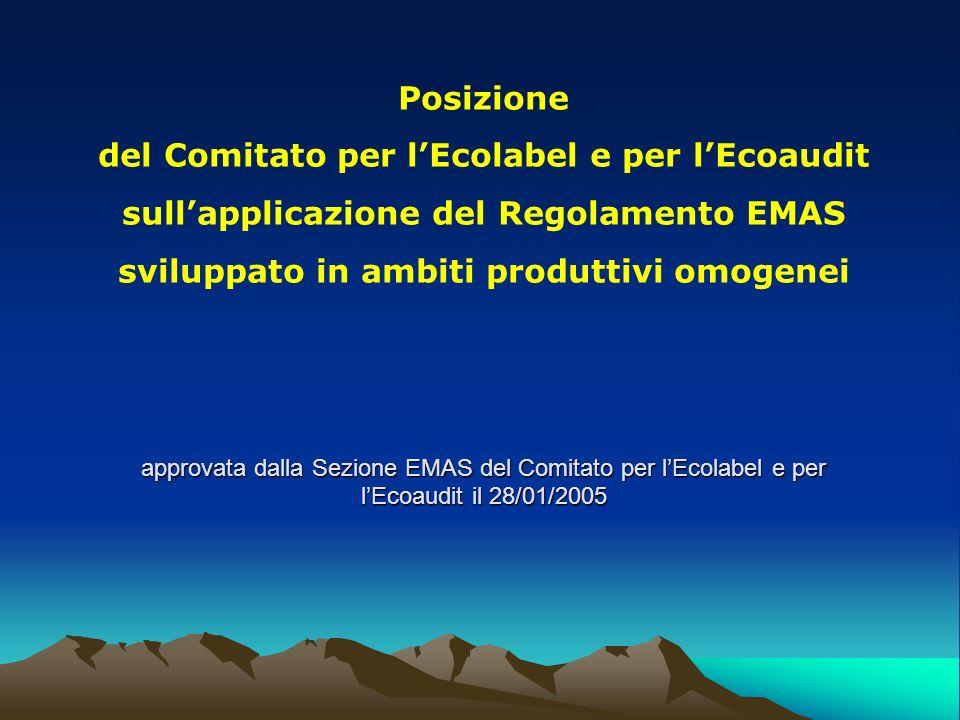approvata dalla Sezione EMAS del Comitato per lEcolabel e per lEcoaudit il 28/01/2005 Posizione del Comitato per lEcolabel e per lEcoaudit sullapplica