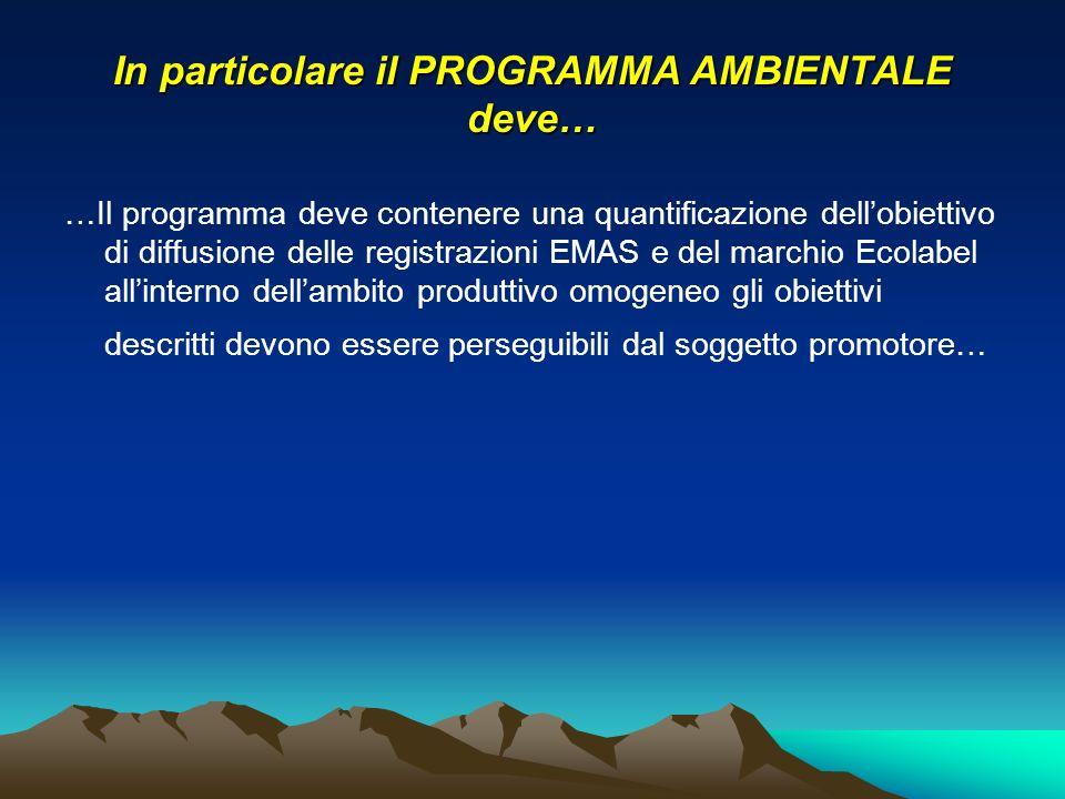 In particolare il PROGRAMMA AMBIENTALE deve… …Il programma deve contenere una quantificazione dellobiettivo di diffusione delle registrazioni EMAS e d