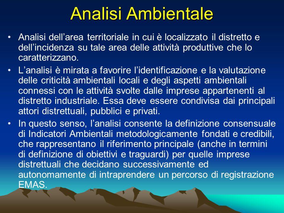 Analisi Ambientale Analisi dellarea territoriale in cui è localizzato il distretto e dellincidenza su tale area delle attività produttive che lo carat