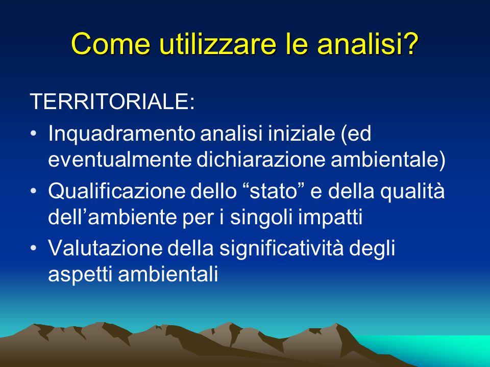 Come utilizzare le analisi? TERRITORIALE: Inquadramento analisi iniziale (ed eventualmente dichiarazione ambientale) Qualificazione dello stato e dell