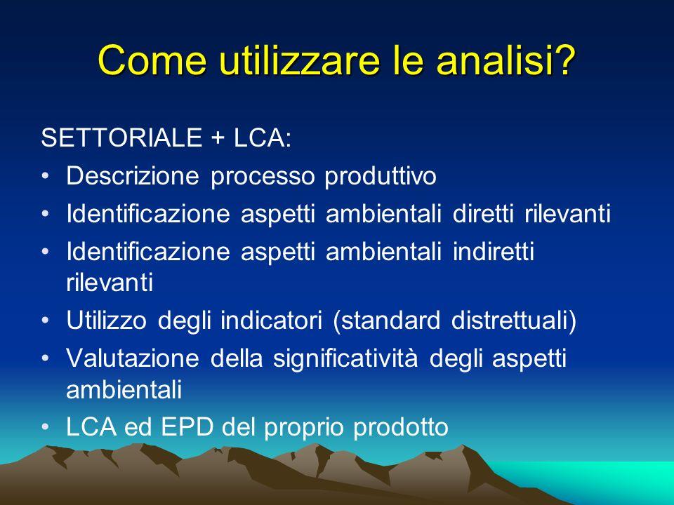 Come utilizzare le analisi? SETTORIALE + LCA: Descrizione processo produttivo Identificazione aspetti ambientali diretti rilevanti Identificazione asp