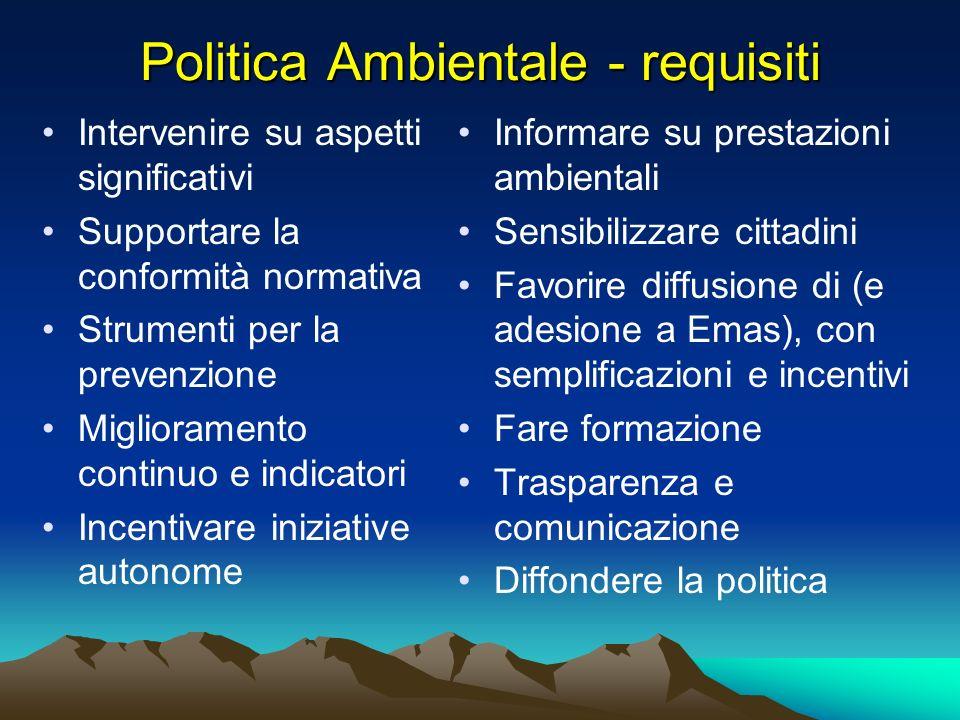 Politica Ambientale - requisiti Intervenire su aspetti significativi Supportare la conformità normativa Strumenti per la prevenzione Miglioramento con