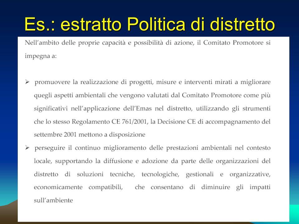 Es.: estratto Politica di distretto