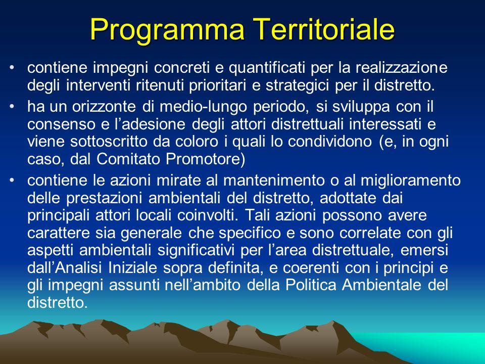 Programma Territoriale contiene impegni concreti e quantificati per la realizzazione degli interventi ritenuti prioritari e strategici per il distrett