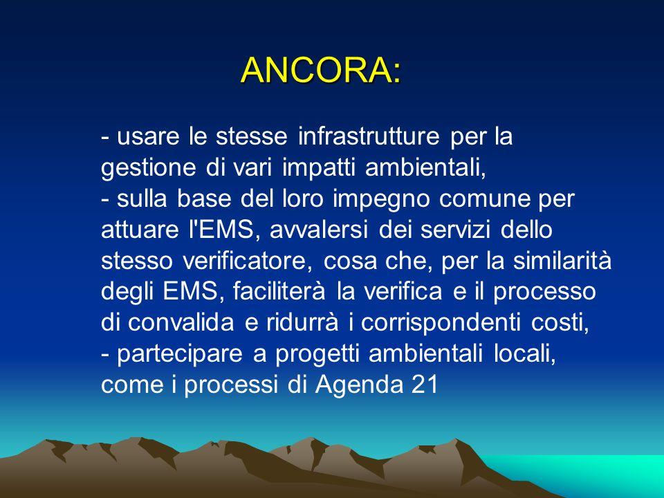 ANCORA: - usare le stesse infrastrutture per la gestione di vari impatti ambientali, - sulla base del loro impegno comune per attuare l'EMS, avvalersi