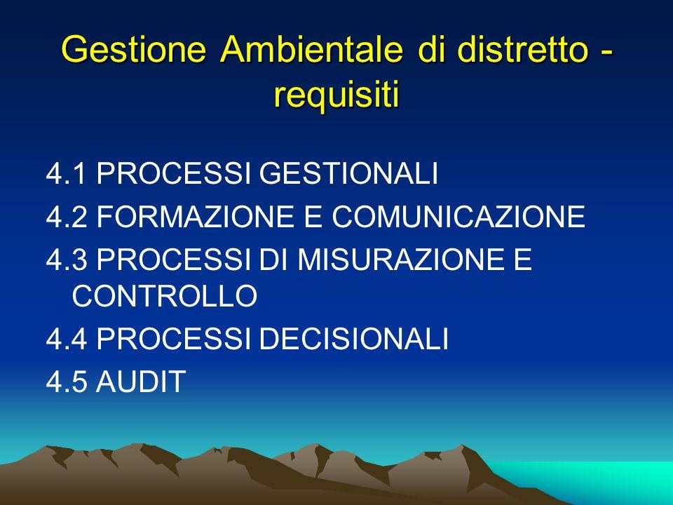 Gestione Ambientale di distretto - requisiti 4.1 PROCESSI GESTIONALI 4.2 FORMAZIONE E COMUNICAZIONE 4.3 PROCESSI DI MISURAZIONE E CONTROLLO 4.4 PROCES