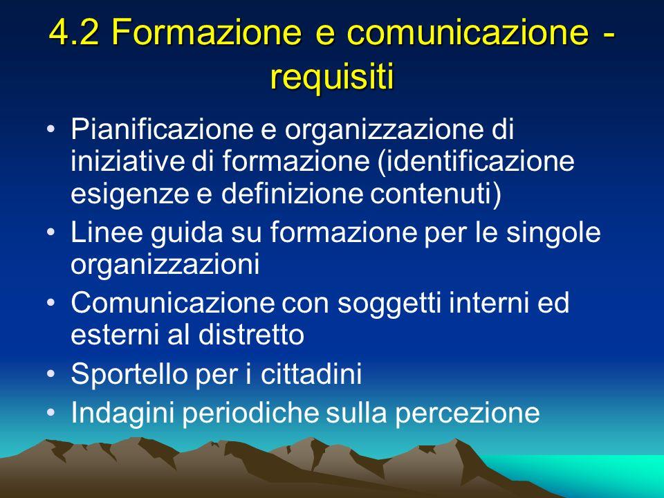 4.2 Formazione e comunicazione - requisiti Pianificazione e organizzazione di iniziative di formazione (identificazione esigenze e definizione contenu