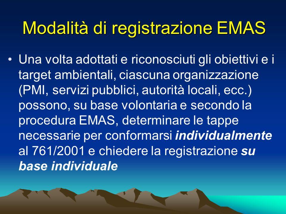 Modalità di registrazione EMAS Una volta adottati e riconosciuti gli obiettivi e i target ambientali, ciascuna organizzazione (PMI, servizi pubblici,