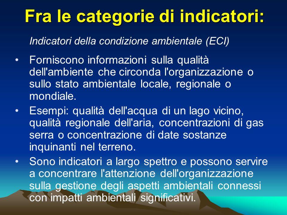 Fra le categorie di indicatori: Indicatori della condizione ambientale (ECI) Forniscono informazioni sulla qualità dell'ambiente che circonda l'organi