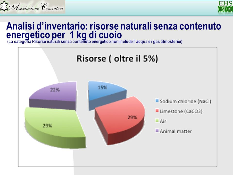 Analisi dinventario: risorse naturali senza contenuto energetico per 1 kg di cuoio (La categoria Risorse naturali senza contenuto energetico non inclu