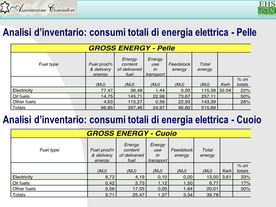 Analisi dinventario: consumi totali di energia elettrica - Pelle Analisi dinventario: consumi totali di energia elettrica - Cuoio