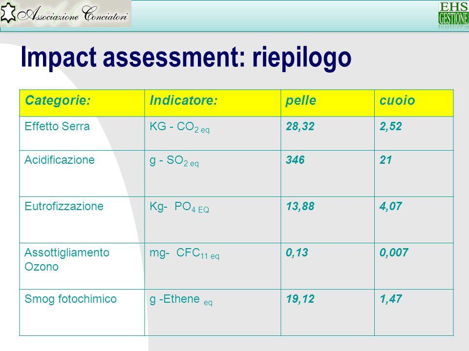 Categorie:Indicatore:pellecuoio Effetto SerraKG - CO 2 eq 28,322,52 Acidificazioneg - SO 2 eq 34621 EutrofizzazioneKg- PO 4 EQ 13,884,07 Assottigliame