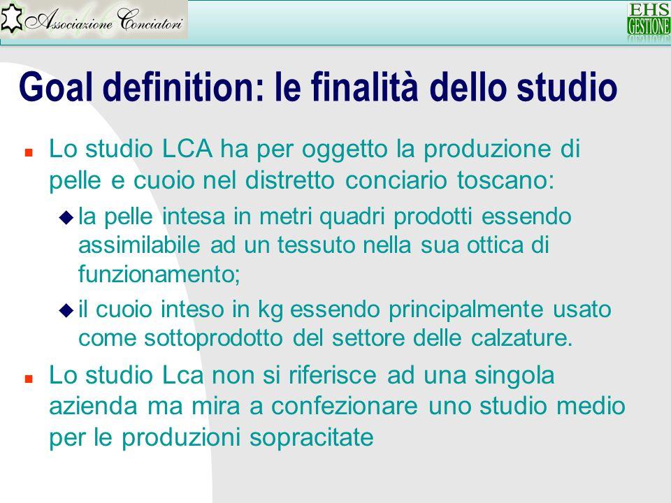 Goal definition: le finalità dello studio n Lo studio LCA ha per oggetto la produzione di pelle e cuoio nel distretto conciario toscano: u la pelle in