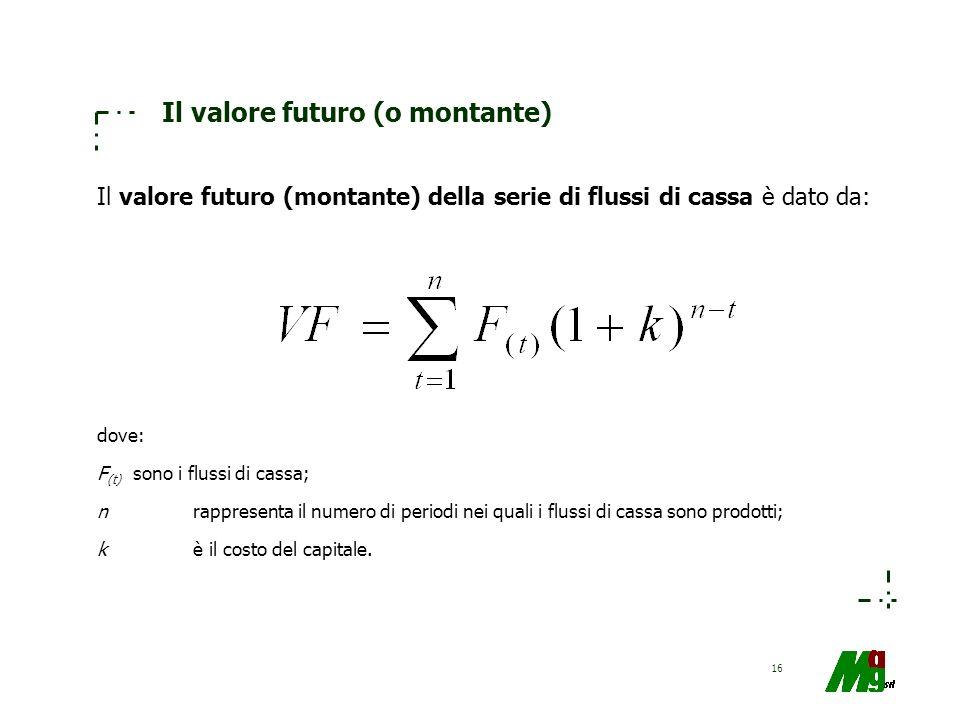 16 Il valore futuro (o montante) Il valore futuro (montante) della serie di flussi di cassa è dato da: dove: F (t) sono i flussi di cassa; nrappresent