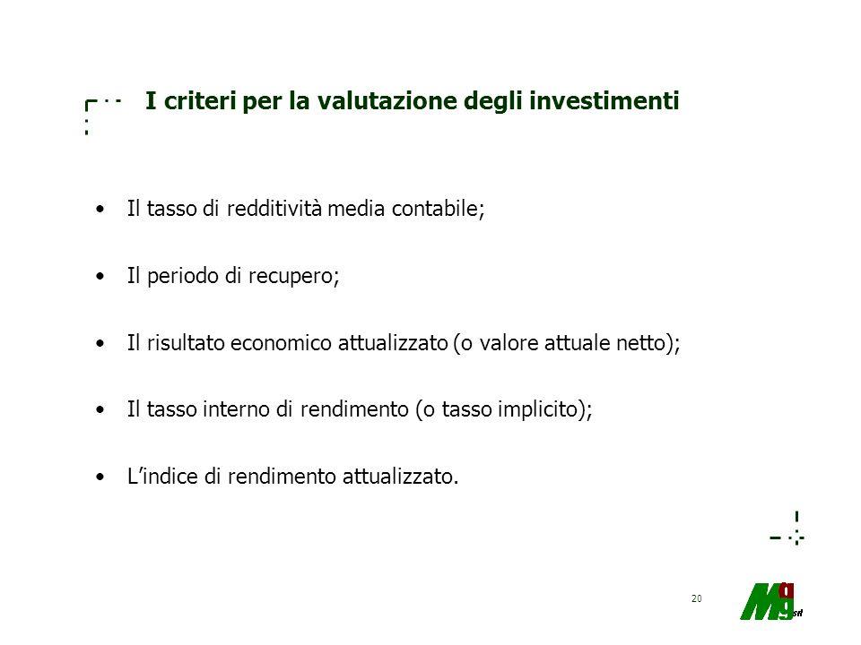 20 I criteri per la valutazione degli investimenti Il tasso di redditività media contabile; Il periodo di recupero; Il risultato economico attualizzat