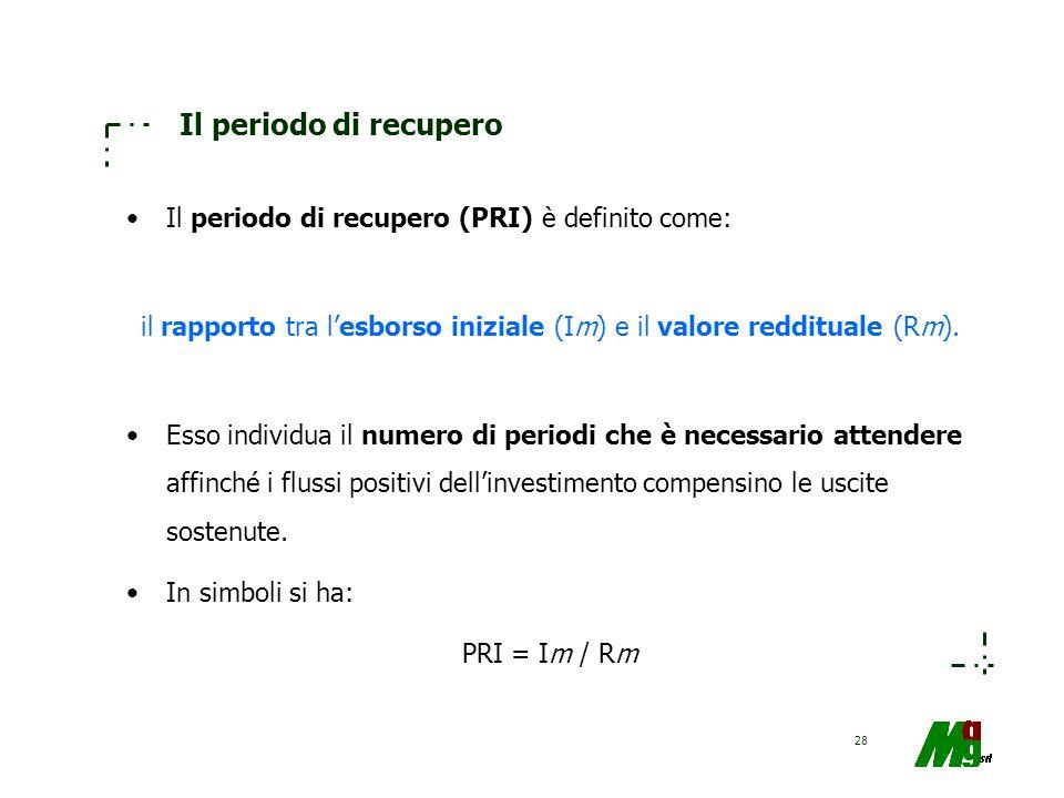 28 Il periodo di recupero Il periodo di recupero (PRI) è definito come: il rapporto tra lesborso iniziale (Im) e il valore reddituale (Rm). Esso indiv