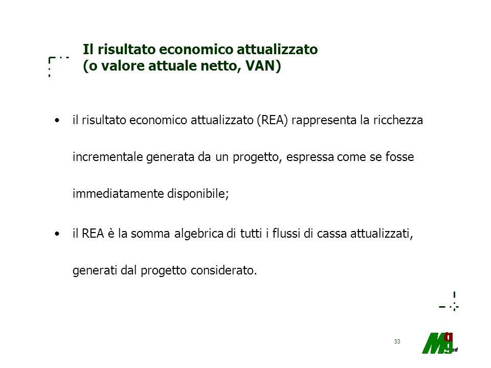 33 Il risultato economico attualizzato (o valore attuale netto, VAN) il risultato economico attualizzato (REA) rappresenta la ricchezza incrementale g