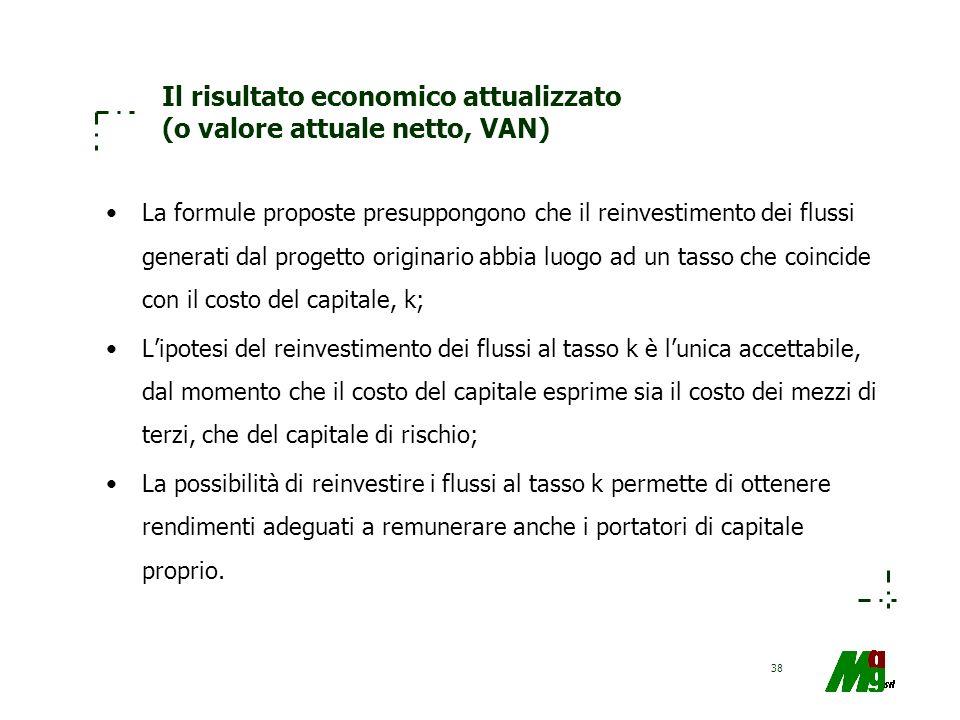 38 Il risultato economico attualizzato (o valore attuale netto, VAN) La formule proposte presuppongono che il reinvestimento dei flussi generati dal p