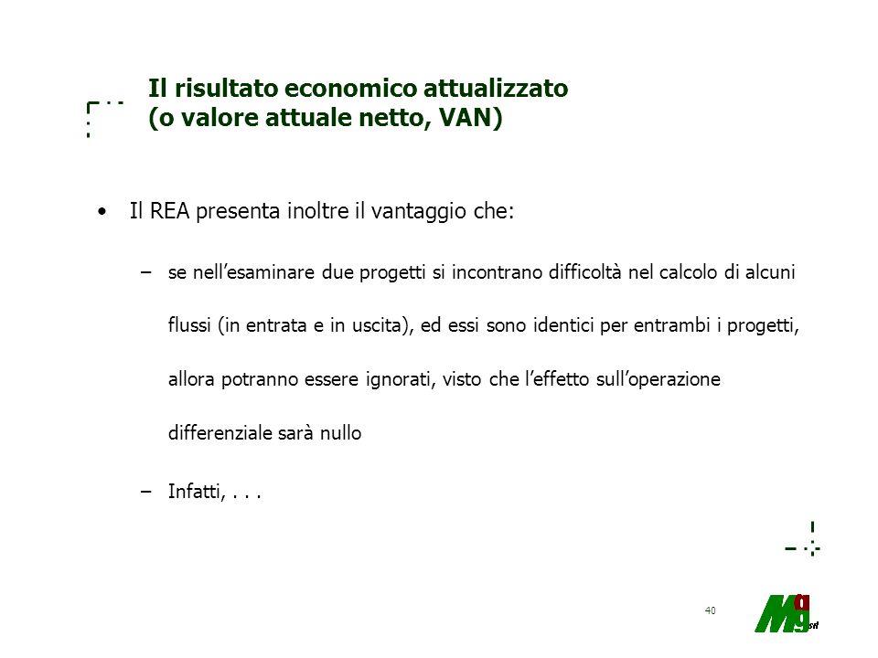 40 Il risultato economico attualizzato (o valore attuale netto, VAN) Il REA presenta inoltre il vantaggio che: –se nellesaminare due progetti si incon