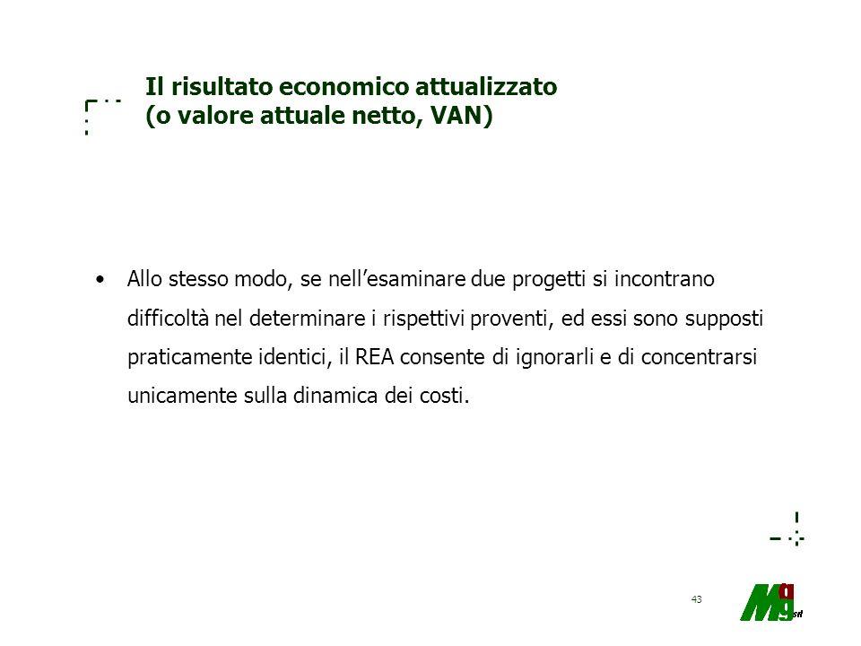 43 Il risultato economico attualizzato (o valore attuale netto, VAN) Allo stesso modo, se nellesaminare due progetti si incontrano difficoltà nel dete