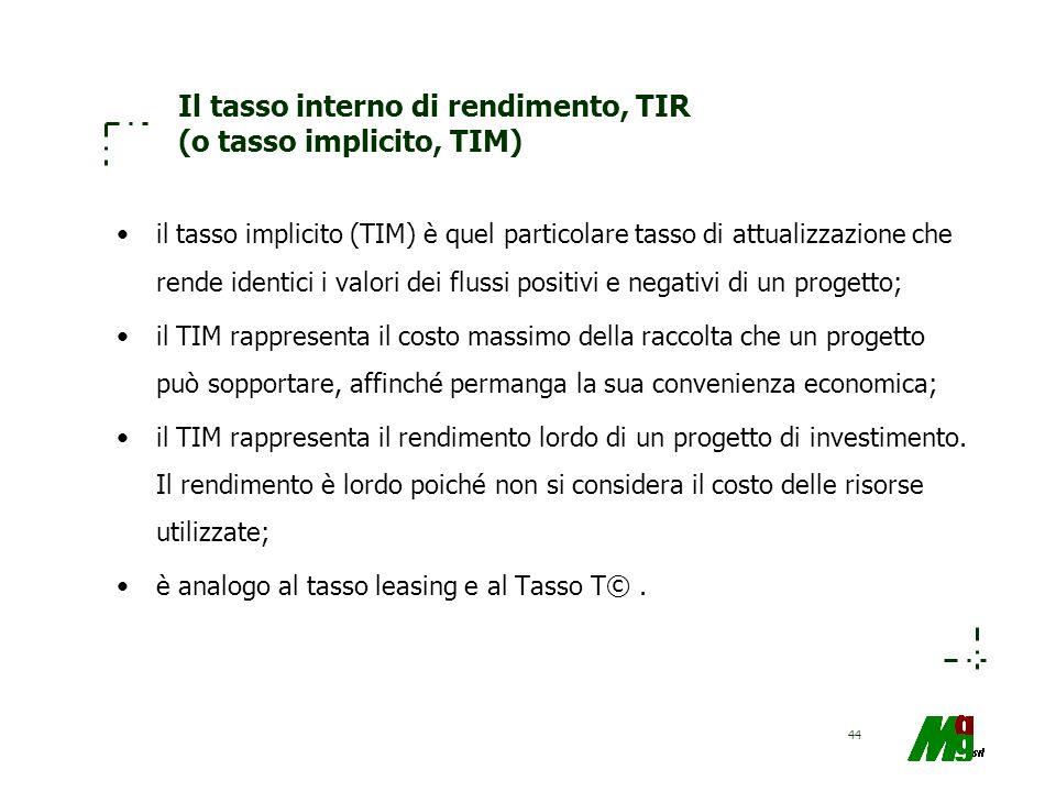 44 Il tasso interno di rendimento, TIR (o tasso implicito, TIM) il tasso implicito (TIM) è quel particolare tasso di attualizzazione che rende identic