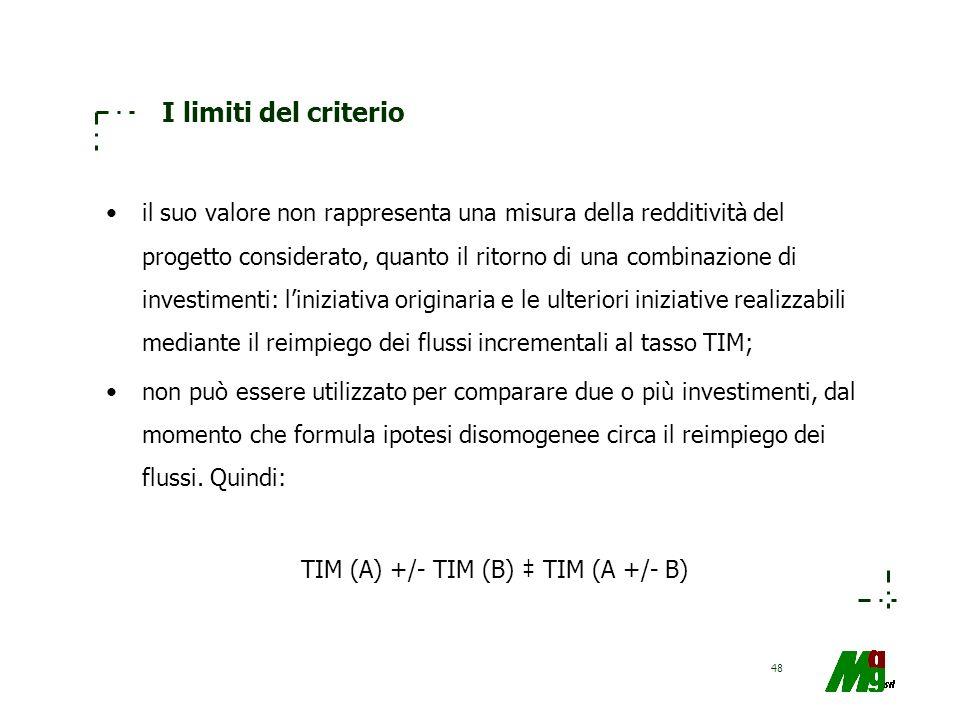 48 I limiti del criterio il suo valore non rappresenta una misura della redditività del progetto considerato, quanto il ritorno di una combinazione di
