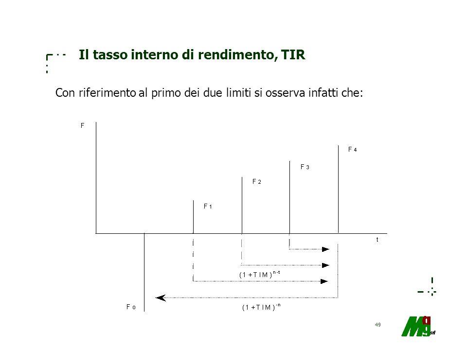 49 Il tasso interno di rendimento, TIR Con riferimento al primo dei due limiti si osserva infatti che: