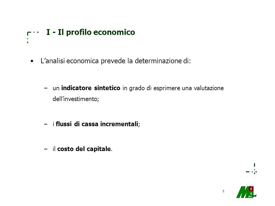 5 I - Il profilo economico Lanalisi economica prevede la determinazione di: –un indicatore sintetico in grado di esprimere una valutazione dellinvesti