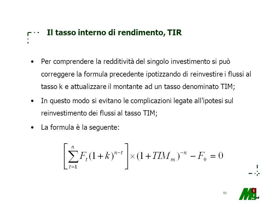 50 Il tasso interno di rendimento, TIR Per comprendere la redditività del singolo investimento si può correggere la formula precedente ipotizzando di