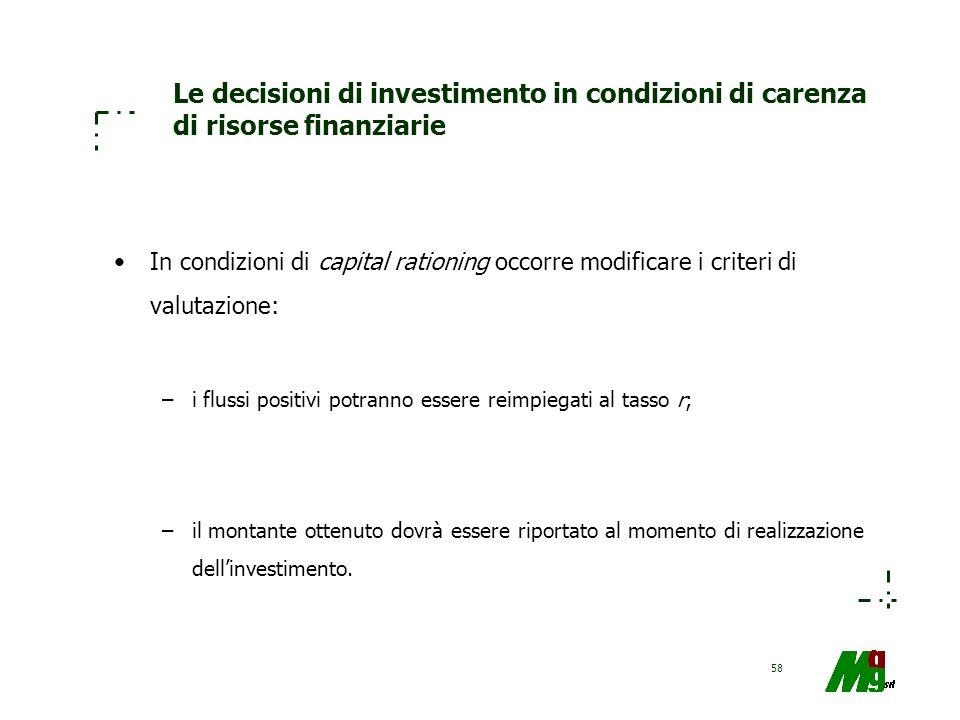 58 Le decisioni di investimento in condizioni di carenza di risorse finanziarie In condizioni di capital rationing occorre modificare i criteri di val