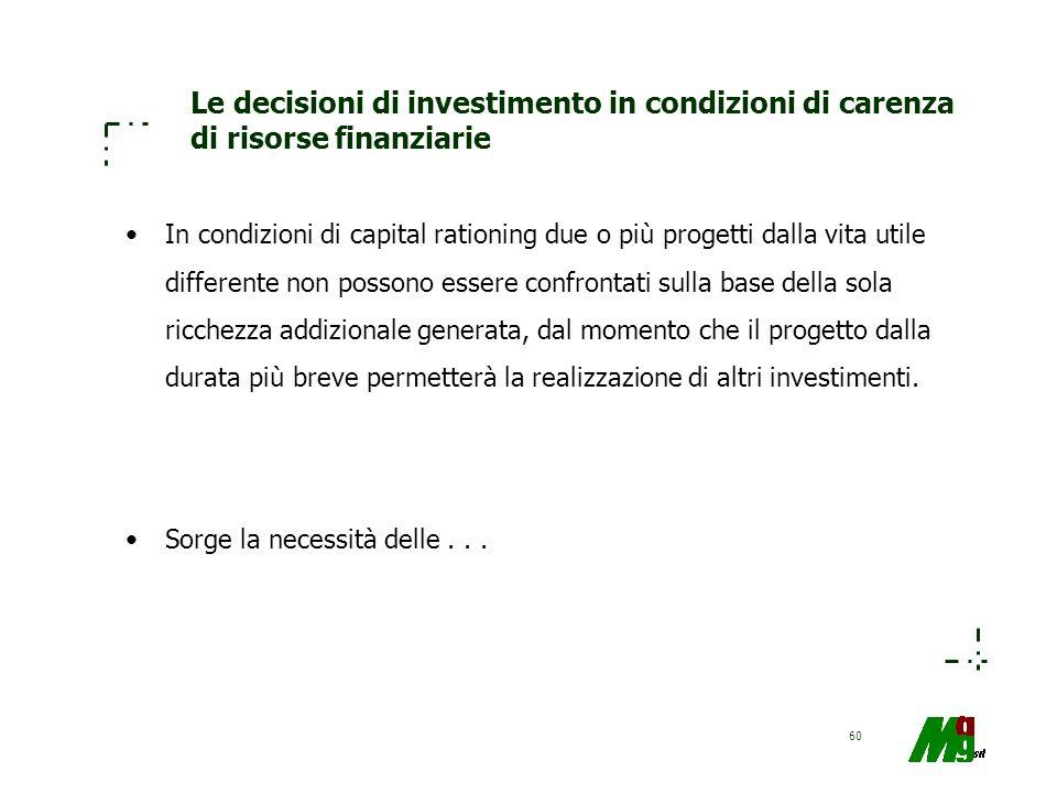 60 Le decisioni di investimento in condizioni di carenza di risorse finanziarie In condizioni di capital rationing due o più progetti dalla vita utile