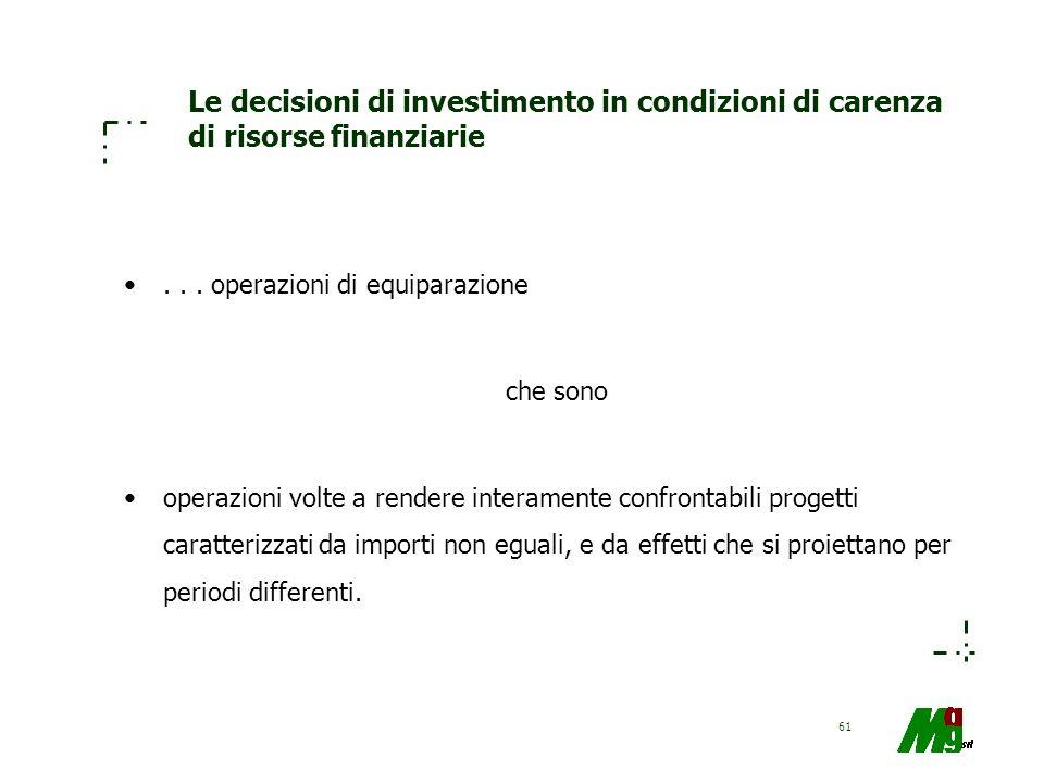 61 Le decisioni di investimento in condizioni di carenza di risorse finanziarie... operazioni di equiparazione che sono operazioni volte a rendere int