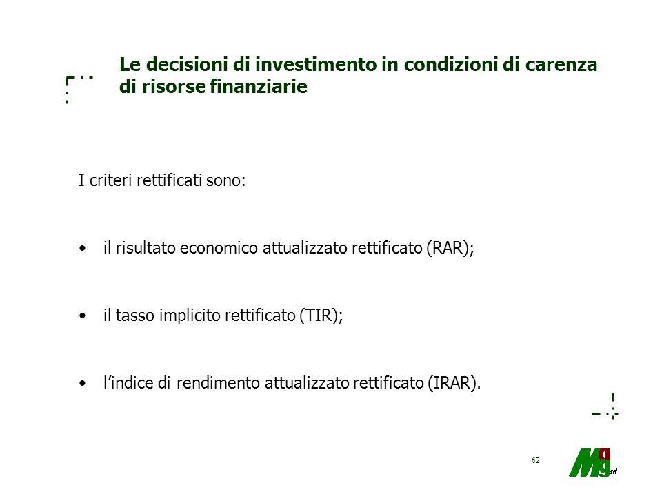62 Le decisioni di investimento in condizioni di carenza di risorse finanziarie I criteri rettificati sono: il risultato economico attualizzato rettif