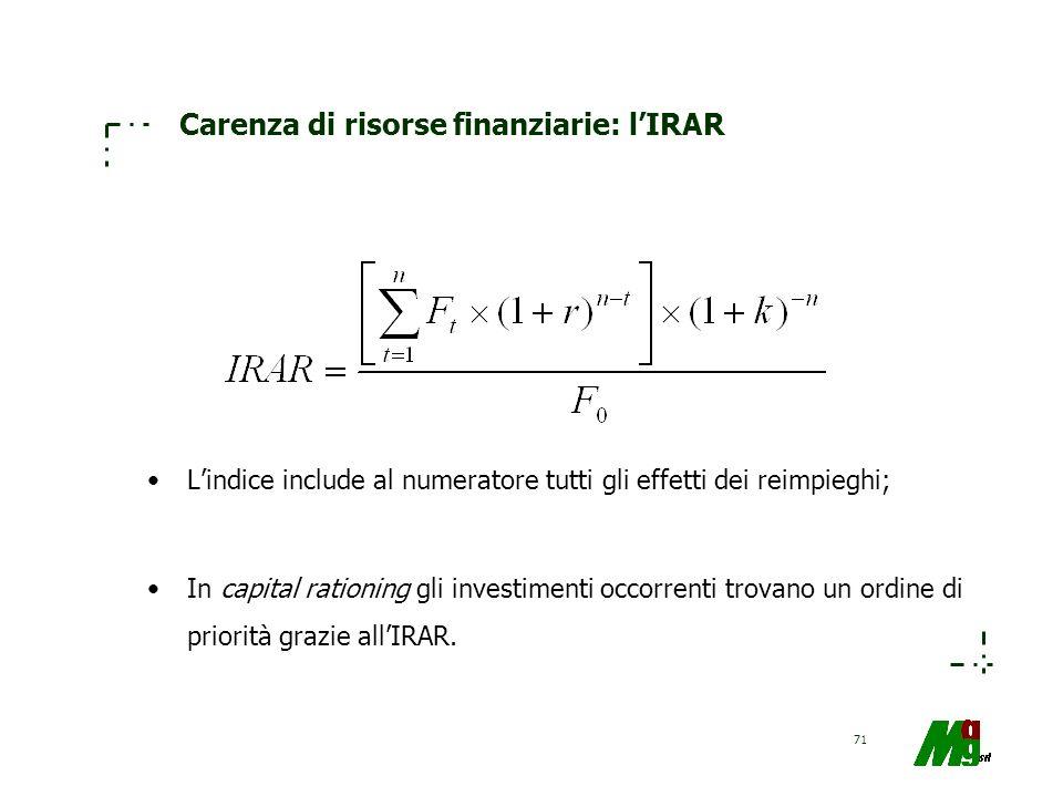 71 Carenza di risorse finanziarie: lIRAR Lindice include al numeratore tutti gli effetti dei reimpieghi; In capital rationing gli investimenti occorre