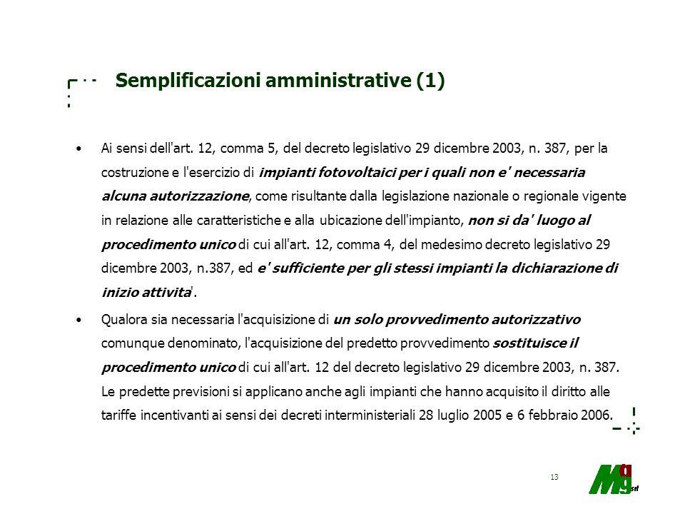 13 Semplificazioni amministrative (1) Ai sensi dell'art. 12, comma 5, del decreto legislativo 29 dicembre 2003, n. 387, per la costruzione e l'eserciz