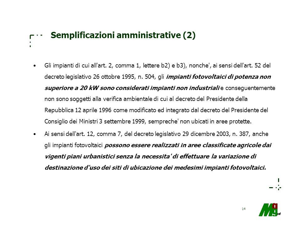 14 Semplificazioni amministrative (2) Gli impianti di cui all'art. 2, comma 1, lettere b2) e b3), nonche', ai sensi dell'art. 52 del decreto legislati